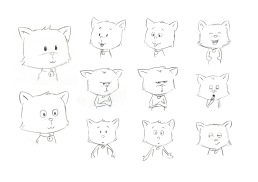 Initial sketches for Fudge the cat
